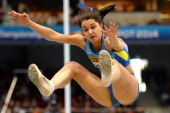 Ukraine's Anna Kornuta competes in the Women's Long Jump qualification group A event at the IAAF World Indoor Athletics Championships in the Ergo...