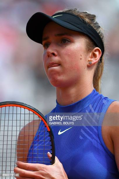 Ukraine's Elina Svitolina reacts after a point against Kazakhstan's Yaroslava Shvedova during their tennis match at the Roland Garros 2017 French...