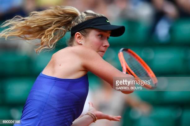 Ukraine's Elina Svitolina returns the ball to Kazakhstan's Yaroslava Shvedova during their tennis match at the Roland Garros 2017 French Open on May...