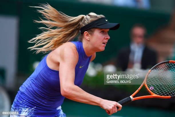 Ukraine's Elina Svitolina runs as she plays against Kazakhstan's Yaroslava Shvedova during their tennis match at the Roland Garros 2017 French Open...