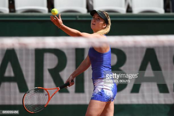 Ukraine's Elina Svitolina serves to Kazakhstan's Yaroslava Shvedova during their tennis match at the Roland Garros 2017 French Open on May 30 2017 in...