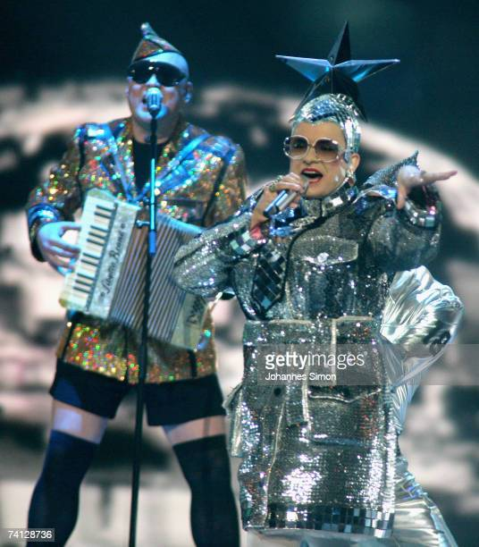 Ukraine's entry to the Eurovision Song Contest 2007 Verka Serduchka performs her song 'Dancing Lasha Tumbai Danzing' during the second dress...