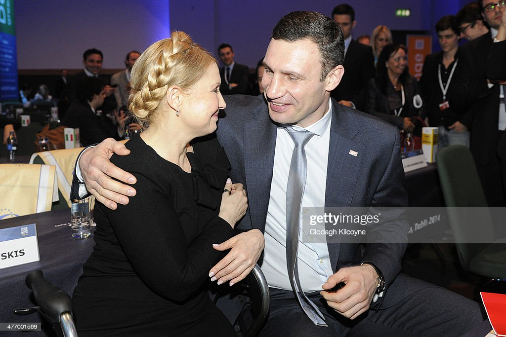 Ukraine's former prime minister <a gi-track='captionPersonalityLinkClicked' href=/galleries/search?phrase=Yulia+Tymoshenko&family=editorial&specificpeople=546280 ng-click='$event.stopPropagation()'>Yulia Tymoshenko</a> and Leader of the Ukrainian Democratic Alliance for Reform (UDAR) Vitaly Klitschko attend the European People's Party Elections Congress 2014 at the Convention Centre on March 6, 2014 in Dublin, Ireland. Vitaly Klitschko is part of a Ukrainian delegation attending the two-day European People's Party congress, Europe's largest political party. The Congress will select the EPP's candidate for President of the European Commission and start the party's campaign for the European Parliament elections.