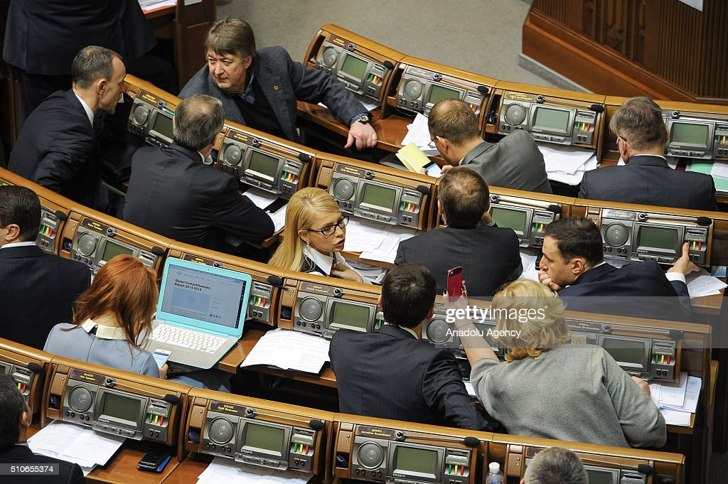 Ukraine's former Prime Minister <a gi-track='captionPersonalityLinkClicked' href=/galleries/search?phrase=Yulia+Tymoshenko&family=editorial&specificpeople=546280 ng-click='$event.stopPropagation()'>Yulia Tymoshenko</a> (Second row Center) attends a parliament session in Kiev, Ukraine on February 16, 2016.