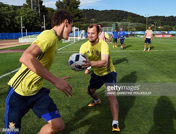 Ukraine's forward Roman Zozulya attends a training session at the GeorgesCarcassonne Stadium in AixenProvence southern France on June 20 on the eve...