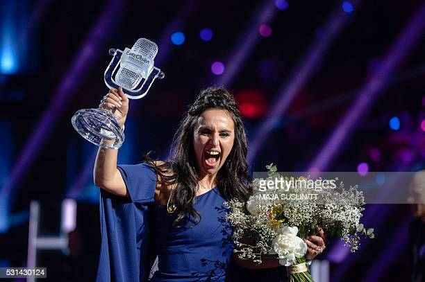 Ukraine's Jamala reacts on winning the Eurovision Song Contest final at the Ericsson Globe Arena in Stockholm on May 14 2016 News Agency / Maja...