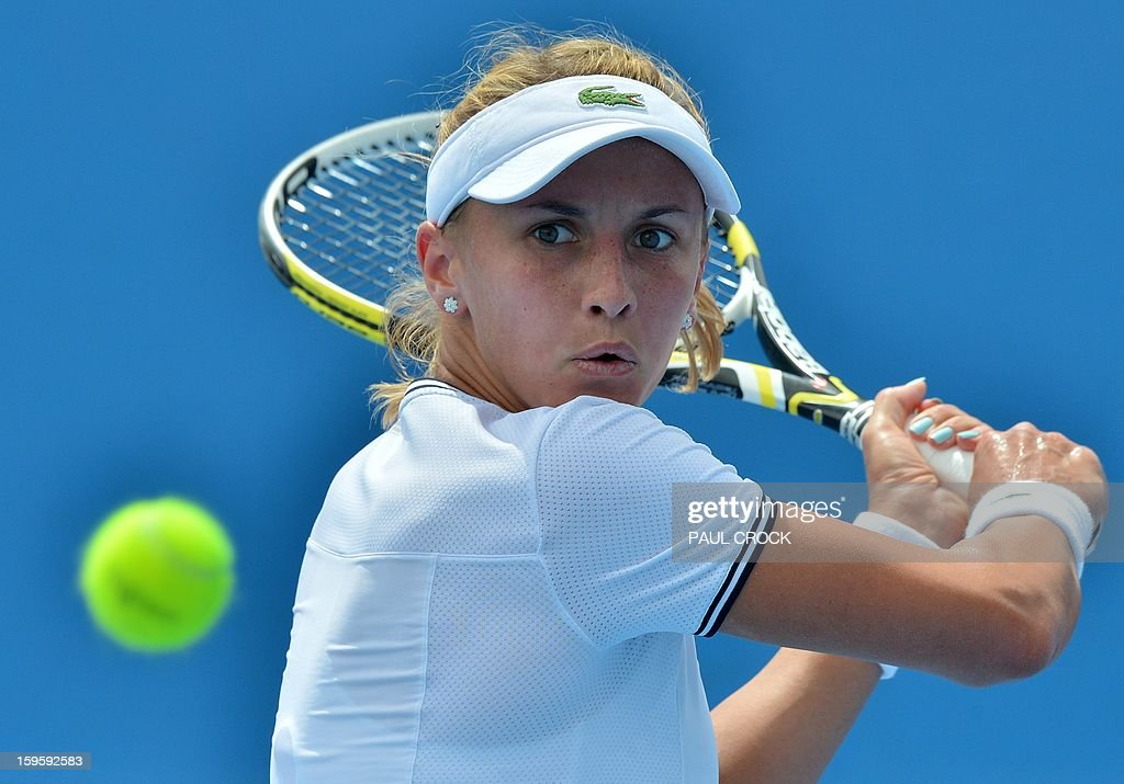 Ukraine's Lesia Tsurenko hits a return against Russia's Daria Gavrilova during their women's singles match on day four of the Australian Open tennis tournament in Melbourne on January 17, 2013.