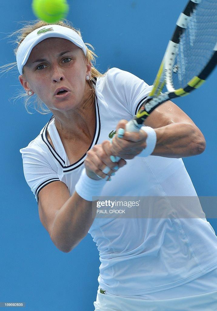 Ukraine's Lesia Tsurenko hits a return against Russia's Daria Gavrilova during their women's singles match on day four of the Australian Open tennis tournament in Melbourne on January 17, 2013.
