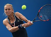 Ukraine's Lesia Tsurenko plays a shot during her women's singles match against Madison Keys of the US on day two of the 2015 Australian Open tennis...