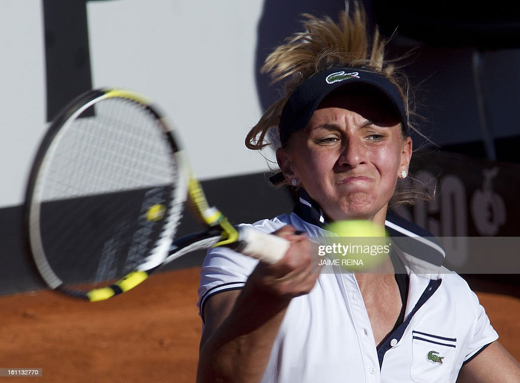 Ukraine's Lesia Tsurenko returns the ball to Spain's Silvia Soler during their International Tennis Federation Fed Cup World Group 2 match in Alicante on February 9, 2013. Soler won 7-5, 6-4.