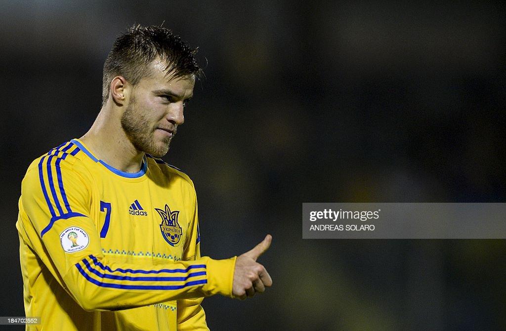 Ukraine's midfielder Andriy Yarmolenko celebrates after scoring during the FIFA World Cup 2014 qualifying football match San Marino vs Ukraine on October 15, 2013 at Olympic stadium in San Marino.