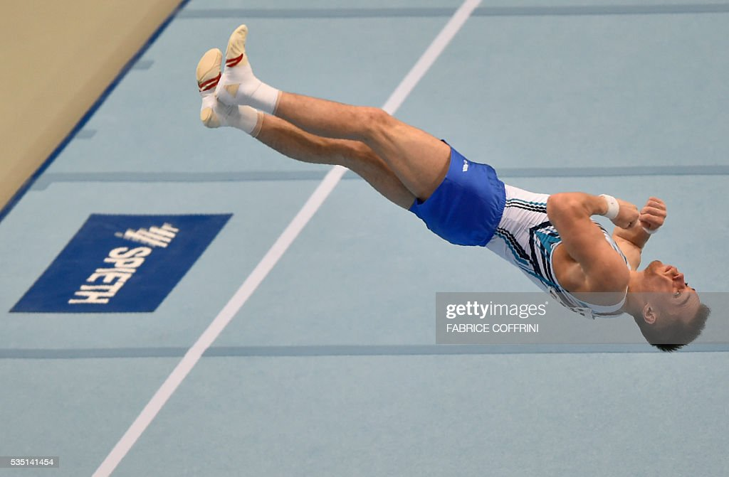 Ukraines Oleg Verniaiev performs during the Mens Floor competition of the European Artistic Gymnastics Championships 2016 in Bern, Switzerland on May 29, 2016. / AFP / FABRICE