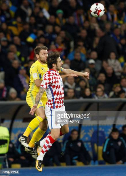 Ukraine's Oleksandr Karavayev in action against Croatia's Sime Vrsaljko during the FIFA World Cup 2018 qualifying soccer match between Croatia and...
