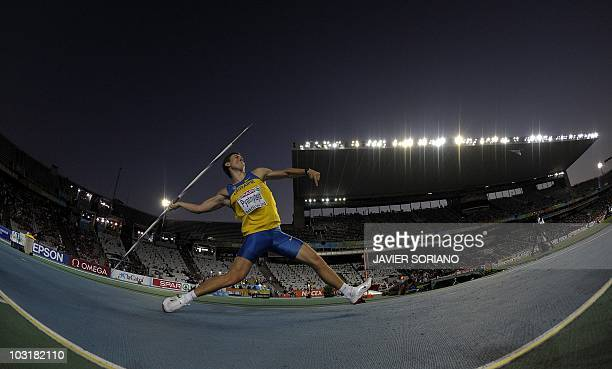 Ukraine's Oleksandr Pyatnytsya competes during the men's javelin throw final at the 2010 European Athletics Championships at the Olympic Stadium in...