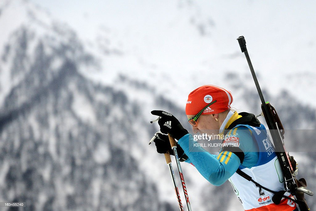 Ukraine's Olena Pidhrushna competes in Women 4x6 km Relay during an IBU World Cup Biathlon at Laura Cross Country and Biathlon Centre in Sochi on March 10, 2013. Germany took the first place ahead of Ukraine and Norway. AFP PHOTO/KIRILL KUDRYAVTSEV