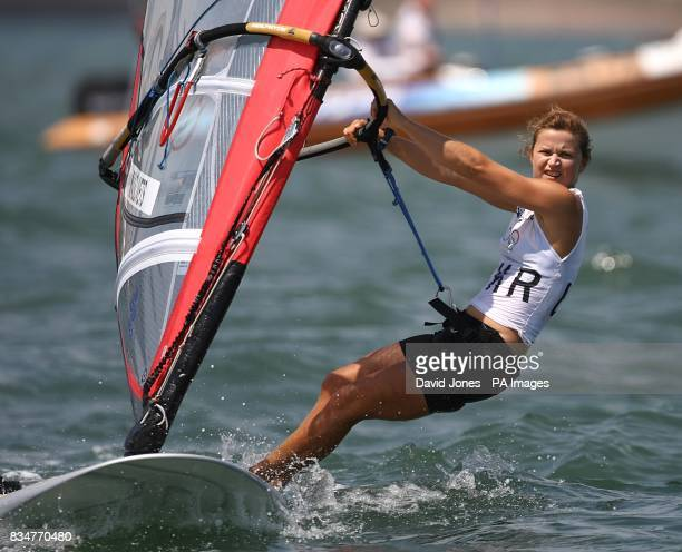 Ukraine's Olha Maslivets sails in the final round of the Women's RSX Sailing Competition at the Olympic Games' Sailing Centre in Qingdao on day 12 of...