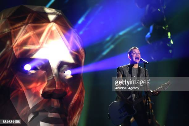 Ukraine's OTorvald band perform the song 'Time' during the second semifinal dress rehearsal of Eurovision Song Contest 2017 at the International...