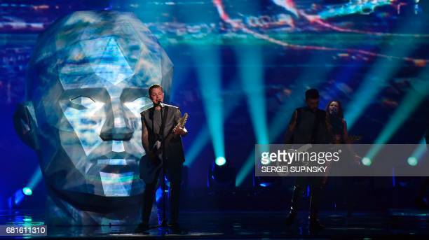 Ukraine's OTorvald performs the song 'Time' during the second semifinal dress rehearsal of the Eurovision Song Contest 2017 on May 10 2017 at the...