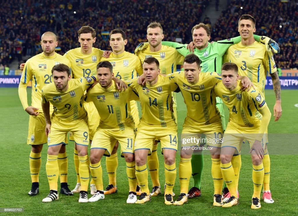 Ukraine's players pose prior to the FIFA World Cup 2018 qualification football match between Ukraine and Croatia in Kiev on October 9, 2017. /