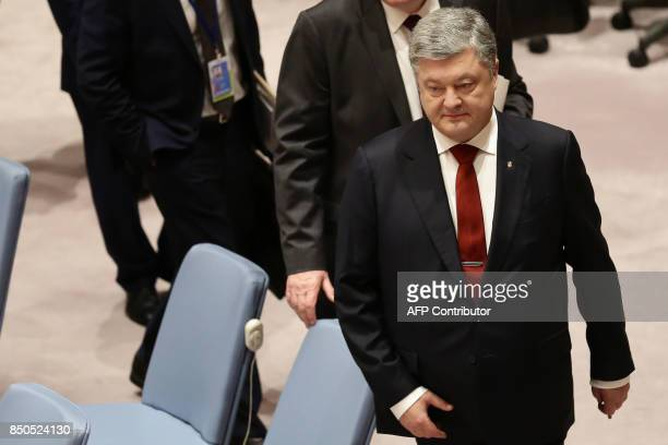 Ukraine's President Petro Poroshenko arrives to take part in an open debate of the United Nations Security Council in New York on September 20 2017 /...