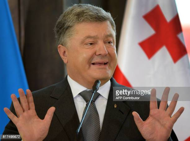 Ukraine's President Petro Poroshenko delivers a speech after a signing ceremony with his Georgian counterpart in Tbilisi on July 18 2017 / AFP PHOTO...