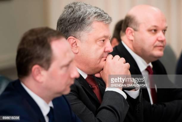 Ukraine's President Petro Poroshenko waits before a meeting with US Secretary of Defense James Mattis at the Pentagon on June 20 2017 in Washington...