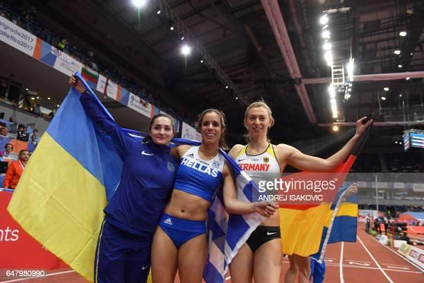 Ukraine's third placed Maryna Kylypko Greece's winner Ekaterini Stefanidi and Germany's second placed Lisa Ryzih celebrate after the women's pole...