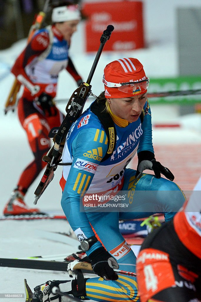 Ukraine's Valj Semerenko competes in Women 4x6 km Relay during an IBU World Cup Biathlon at Laura Cross Country and Biathlon Centre in Sochi on March 10, 2013. Germany took the first place ahead of Ukraine and Norway.