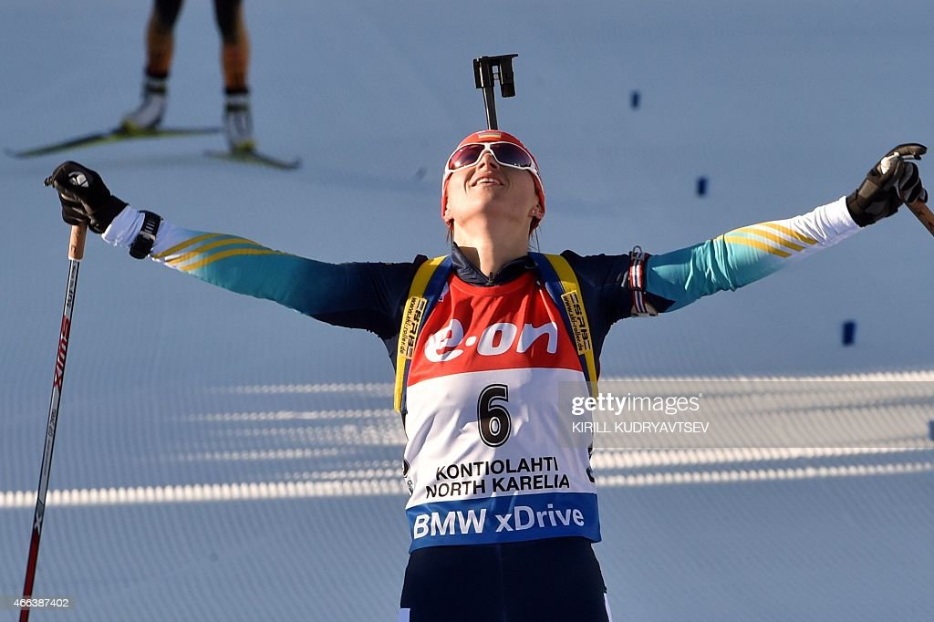 Ukraine's Valj Semerenko reacts after the Women 12,5 km Mass Start at the IBU Biathlon World Championship in Kontiolahti, Finland on March 15, 2015. Ukraine's Valj Semerenko won the competition, Germany's Franziska Preuss placed second and Italy's Karin Oberhofer placed third.