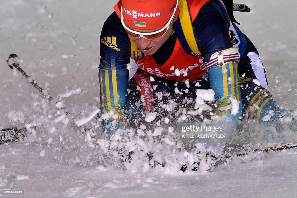 Ukraine's Valj Semerenko reacts the women 7,5 km Sprint at the IBU Biathlon World Championship in Kontiolahti, Finland on March 7, 2015. France's Marie Dorin Habert won the competition, Poland's Weronika Nowakowska-Ziemniak placed second and Ukraine's Valj Semerenko placed third.