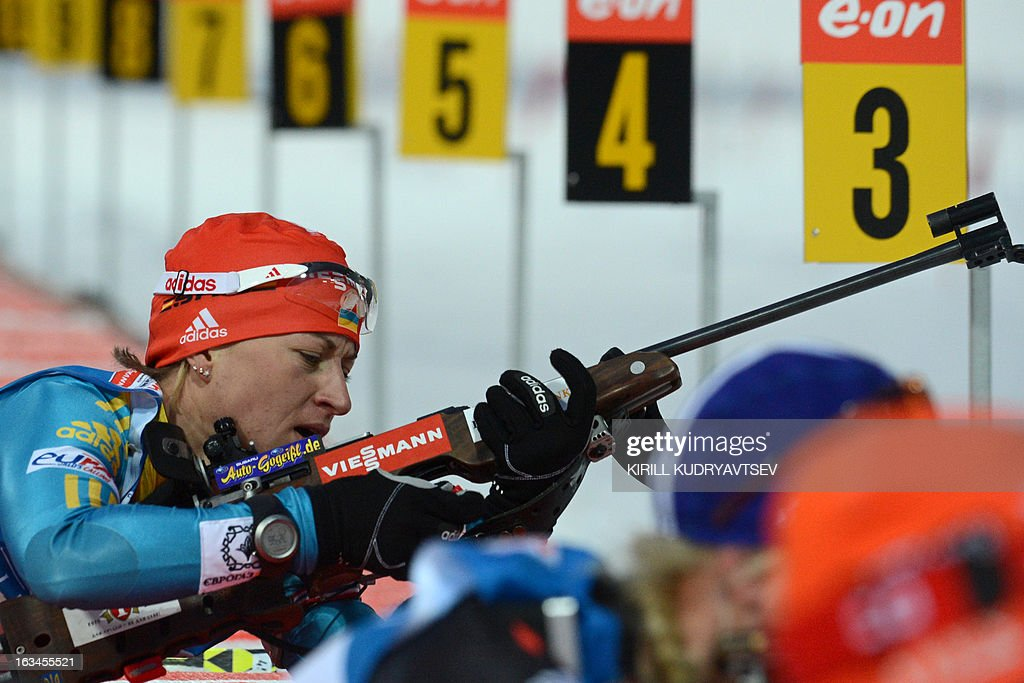 Ukraine's Valj Semerenko shoots in Women 4x6 km Relay during an IBU World Cup Biathlon at Laura Cross Country and Biathlon Centre in Sochi on March 10, 2013. Germany took the first place ahead of Ukraine and Norway.