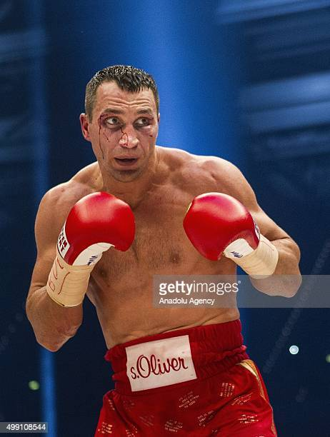 Ukraine's Wladimir Klitschko in action against Britain's Tyson Fury during their IBF/IBO/WBA/WBO World Heavyweight Championship title fight at the...