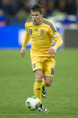 Ukraine's Yevhen Konoplyanka controls the ball during the FIFA 2014 World Cup Qualifier Playoff First Leg soccer match between Ukraine and France at...