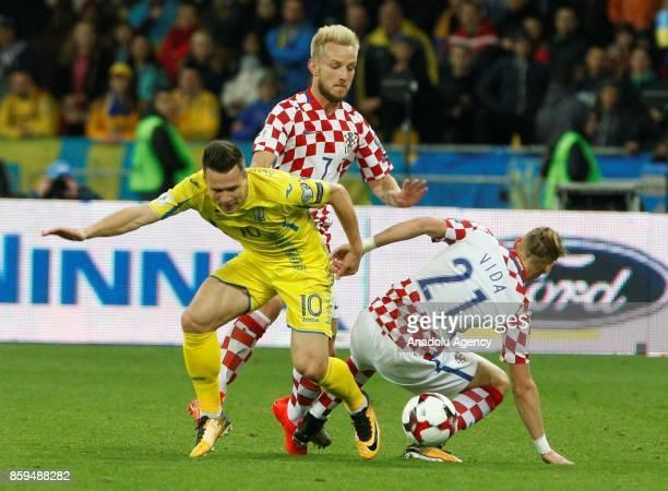 Ukraine's Yevhen Konoplyanka in action against Croatia's Domagoj Vida during the FIFA World Cup 2018 qualifying soccer match between Croatia and...