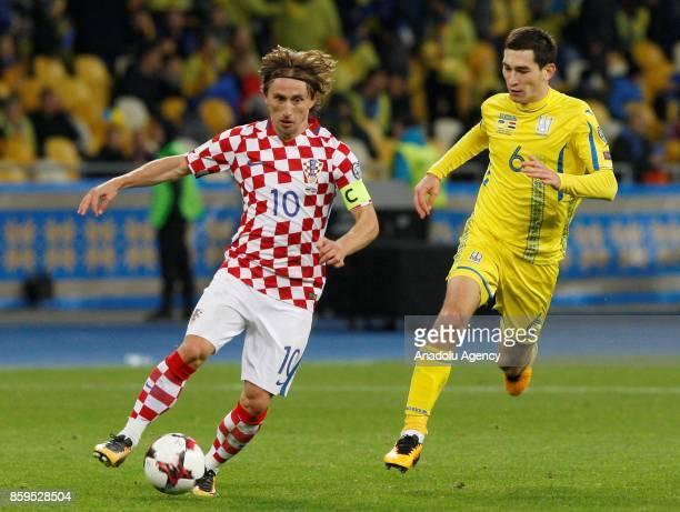 Ukraine's Yevhen Konoplyanka in action against Croatia's Luka Modric during the FIFA World Cup 2018 qualifying soccer match between Croatia and...