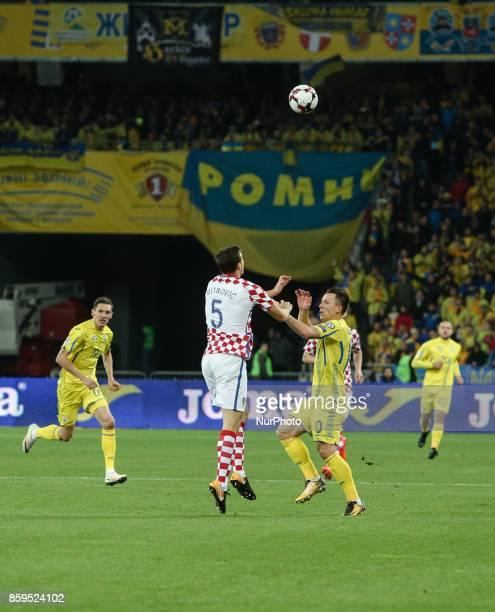 Ukraine's Yevhen Konoplyanka in action against Croatia's Matej Mitrovic during the FIFA 2018 World Cup Group I Qualifier between Ukraine and Croatia...
