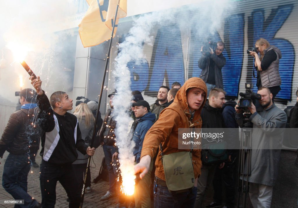 Protest against Russian banks in Ukraine