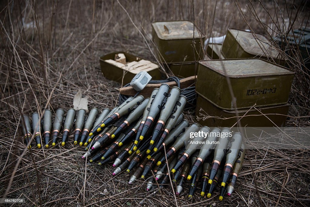 Ukrainian antiaircraft munitions sit on the ground near the front line of defense against proRussian seperatists on February 28 2015 near in the...