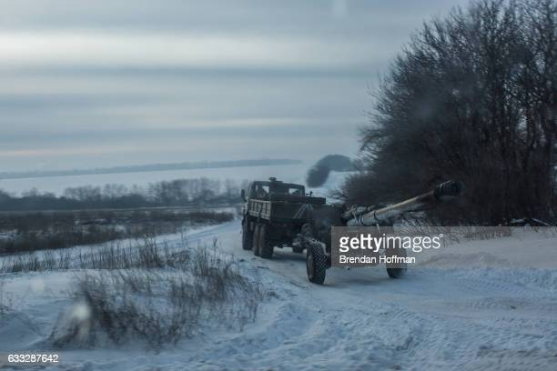 Ukrainian artillery is moved toward a field near the front lines on February 1 2017 near Keramik Ukraine The conflict with Russiabacked rebels has...