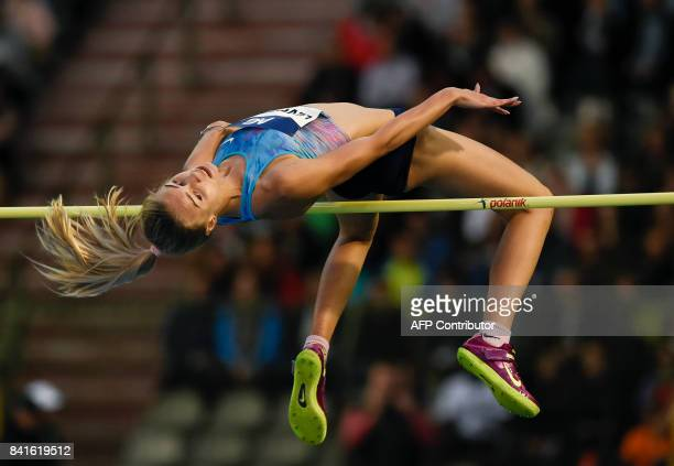 Ukrainian athlete Yuliya Levchenko competes during the women's high jump competition at the AG Insurance Memorial Van Damme athletics event the last...