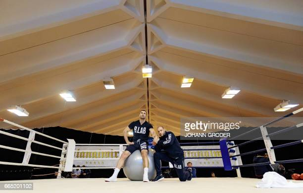 Ukrainian boxer Wladimir Klitschko and his Physio Aldo Vetere are seen during a media training session on April 6 2017 at the Biohotel Stanglwirt...