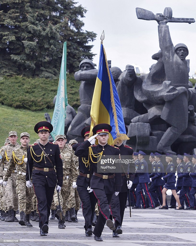 Ukrainian cadets take a part of parade in honor of 71th anniversary of the victory over Nazi Germany in World War II at the Ukrainian State Museum of the Great Patriotic War in Kiev, Ukraine,06 May,2016.