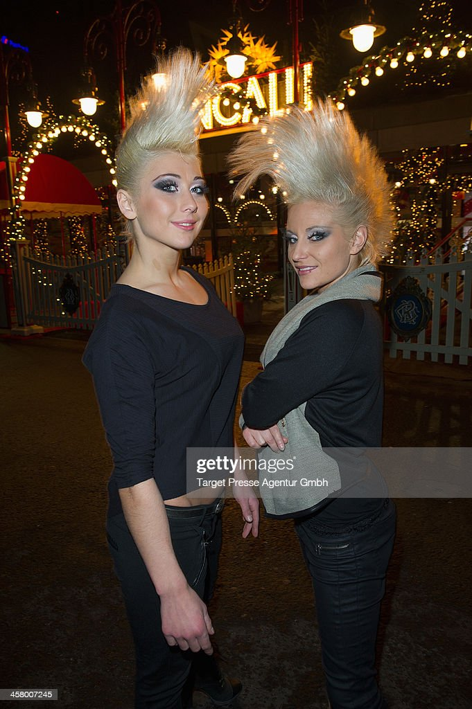 Ukrainian circus artists Katerina and Marina attend the 10th Roncalli Christmas Circus at Tempodrom on December 19, 2013 in Berlin, Germany.