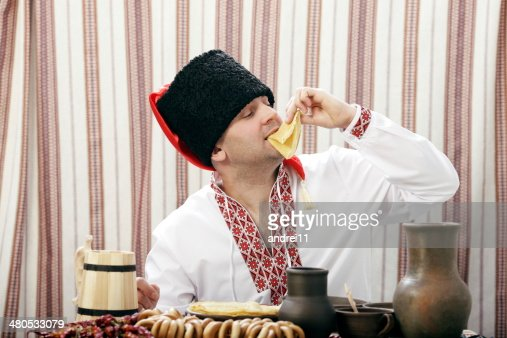 Ukrainian Cossack in national clothes : Stock Photo
