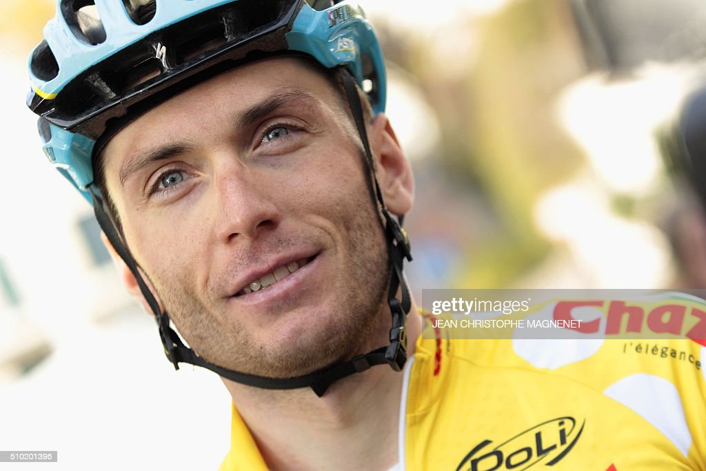 Ukrainian cyclist Andriy Grivko of Astana team answers journalists' questions after winning The Mediterranean cyclist (La Méditerranéenne cycliste) in the fourth and last stage (95.7 km), on February 14, 2016, in the Italian city of Bordighera. / AFP / JEAN CHRISTOPHE MAGNENET