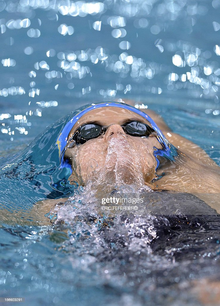 Ukrainian Daryna Zevina competes in the women's 200m backstroke race on November 25, 2012 of the European short course swimming championships in the central French city of Chartres.