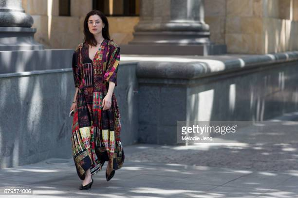 Ukrainian designer Bibi Bevza wears a patterned Bevza FW17 dress at MercedesBenz Fashion Week Tbilisi on May 5 2017 in Tbilisi Georgia