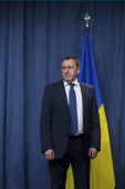 Ukrainian Foreign Minister Andrii Deshchytsia prepares to speak at a press conference at the Intercontinental hotel on April 17 2014 in Geneva...