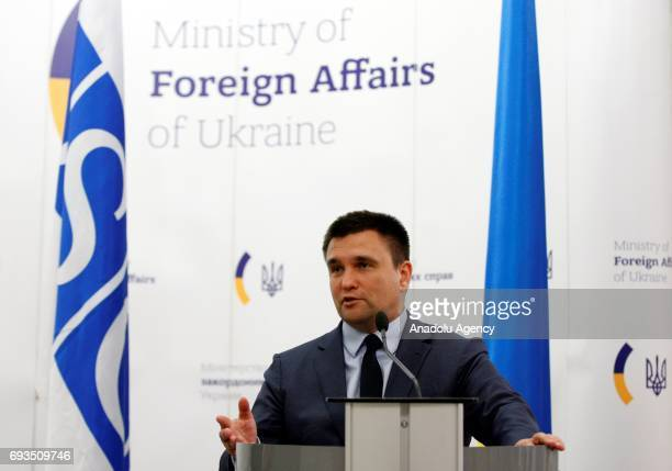 Ukrainian Foreign Minister Pavlo Klimkin and ChairpersoninOffice of the OSCE Austrian Foreign Minister Sebastian Kurz hold a joint press conference...
