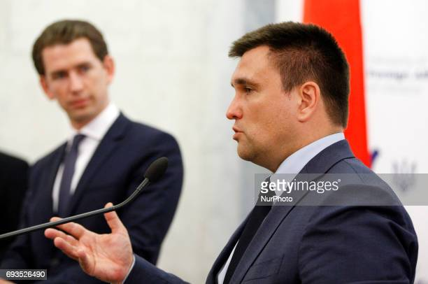 Ukrainian Foreign Minister Pavlo Klimkin and the Organization for Security and Cooperation in Europe chairman Austrian Foreign Minister Sebastian...